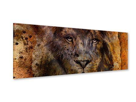 Acrylglasbild Panorama Portrait eines Löwen