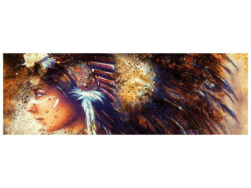 Acrylglasbild Panorama Indianer