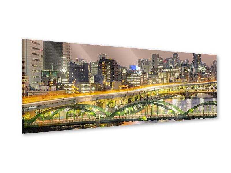 Acrylglasbild Panorama Skyline Das Lichtermeer von Tokio
