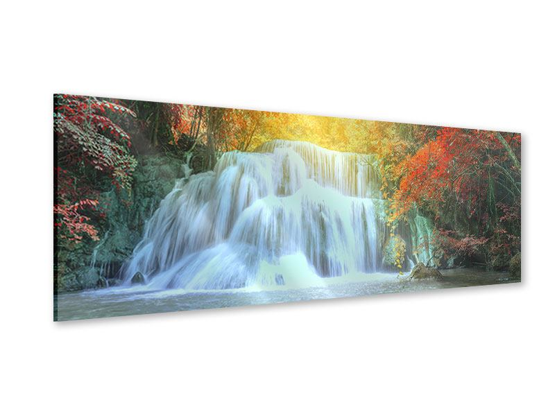 Acrylglasbild Panorama Wasserfall im Licht