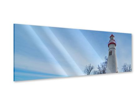 Acrylglasbild Panorama Leuchtturm im Schnee