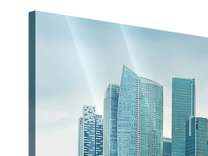 Acrylglasbild Panorama Skyline Sonnenaufgang in Singapur