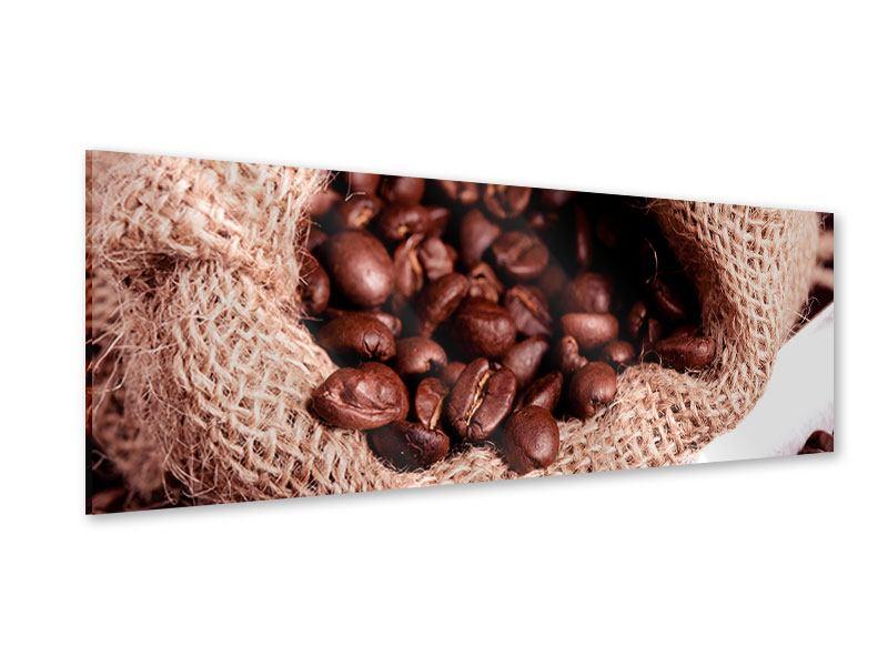 Acrylglasbild Panorama XXL Kaffeebohnen