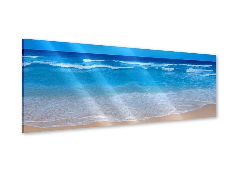 Acrylglasbild Panorama Sanfte Strandwellen