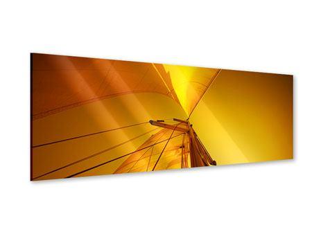 Acrylglasbild Panorama Segelboot im Sonnenuntergang