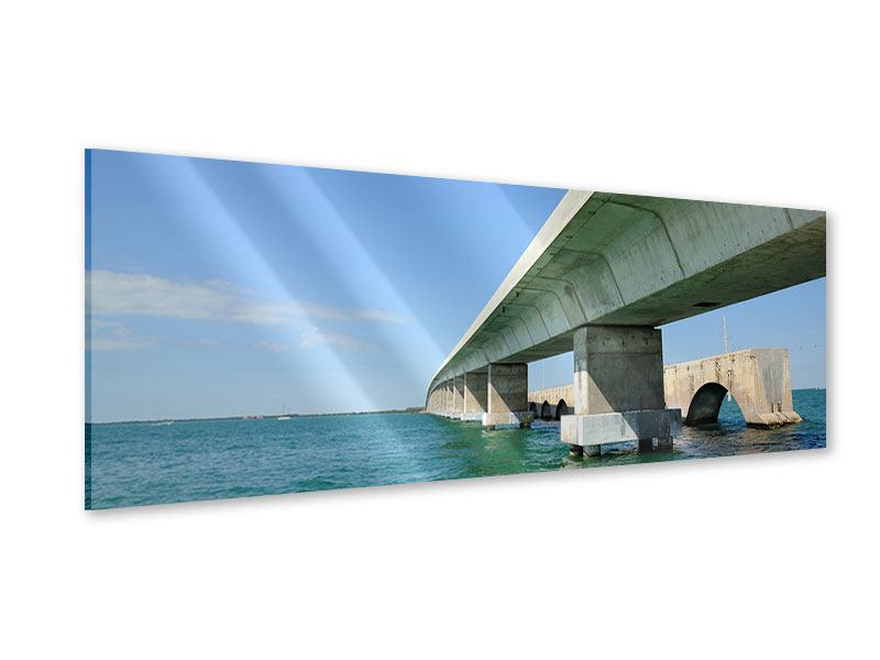 Acrylglasbild Panorama Seven Mile Bridge