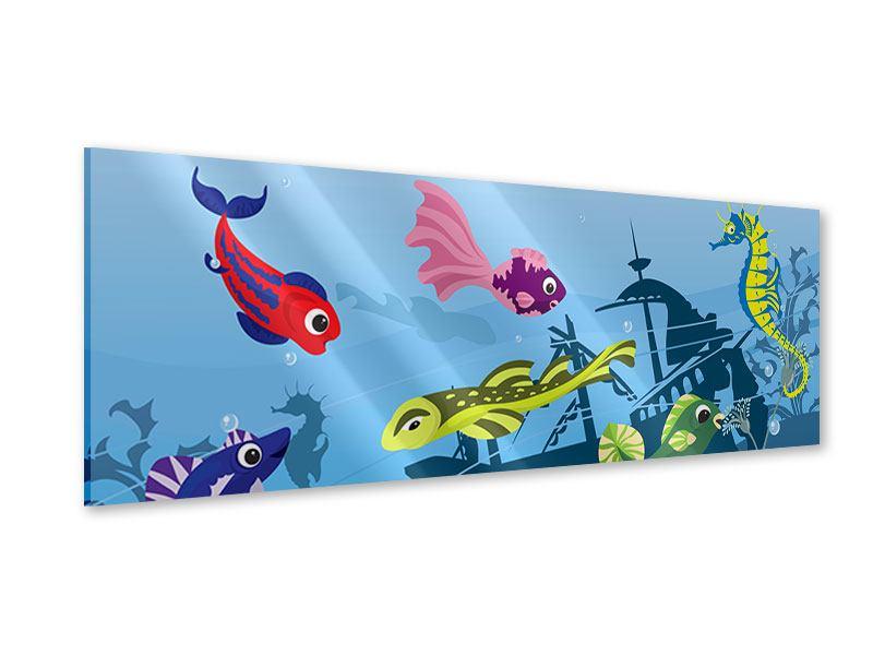 Acrylglasbild Panorama Fische im Wasser