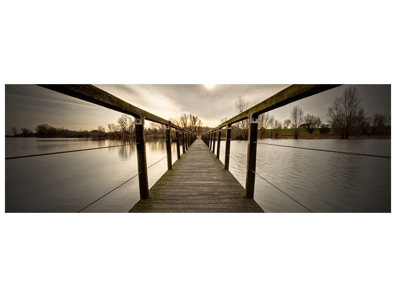 Acrylglasbild Panorama Die Holzbrücke