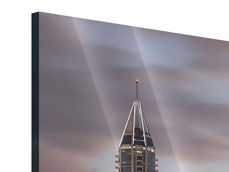 Acrylglasbild Panorama Skyline Dubai bei Sonnenuntergang