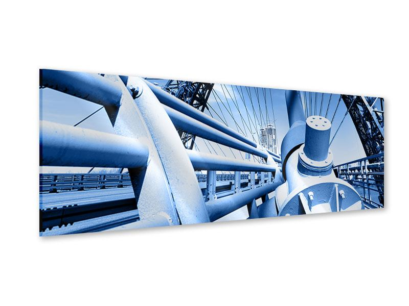 Acrylglasbild Panorama Avantgardistische Hängebrücke