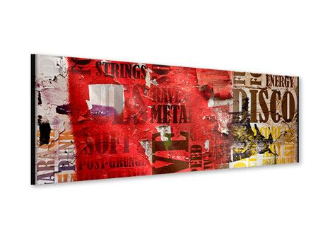 Acrylglasbild Panorama Musiktext im Grungestil