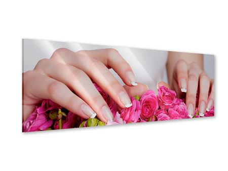 Acrylglasbild Panorama Hände auf Rosen gebettet