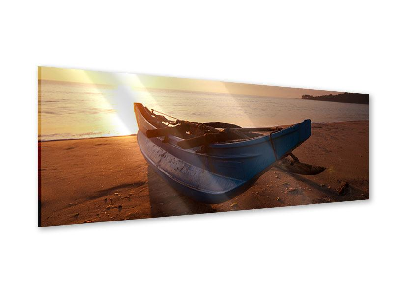 Acrylglasbild Panorama Das gestrandete Boot