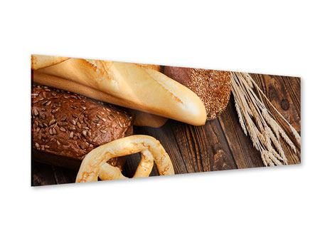 Acrylglasbild Panorama Brot und Bretzel