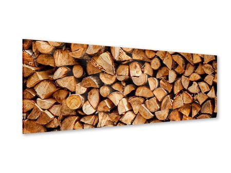 Acrylglasbild Panorama Gestapeltes Holz