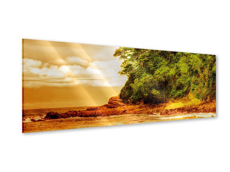 Acrylglasbild Panorama Sonnenuntergang am Ende des Waldes