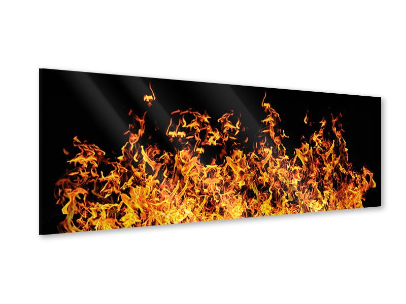 Acrylglasbild Panorama Moderne Feuerwand