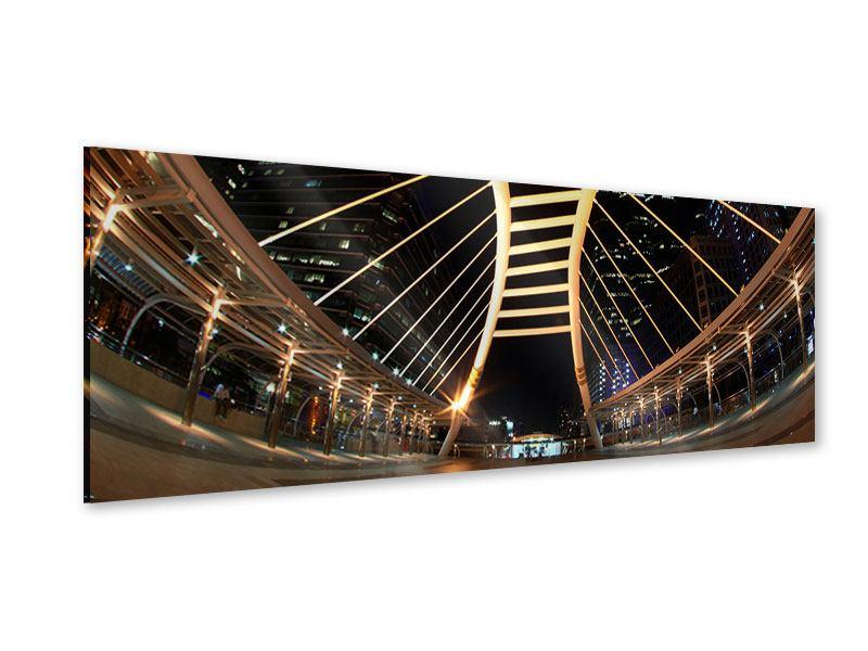 Acrylglasbild Panorama Avantgardistische Brücke