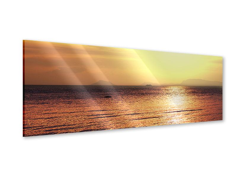Acrylglasbild Panorama Sonnenuntergang an der See