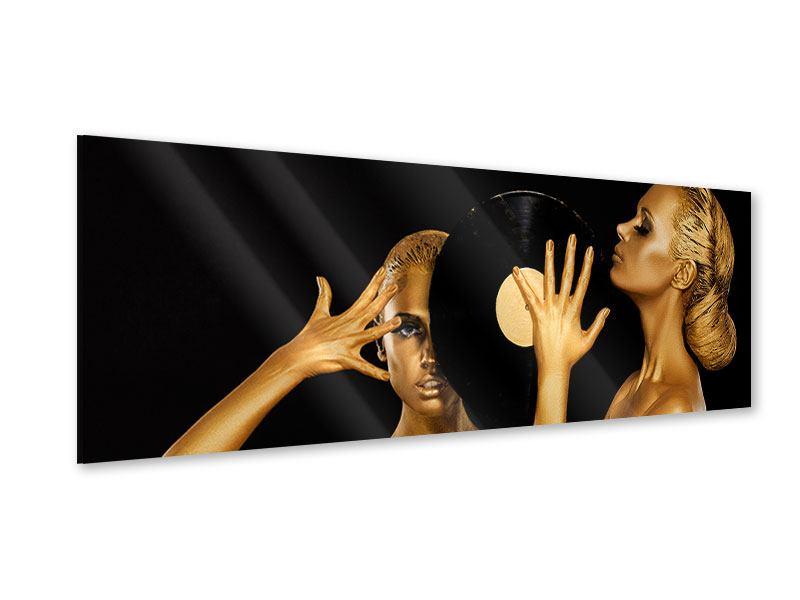 Acrylglasbild Panorama Gold-DJ`s