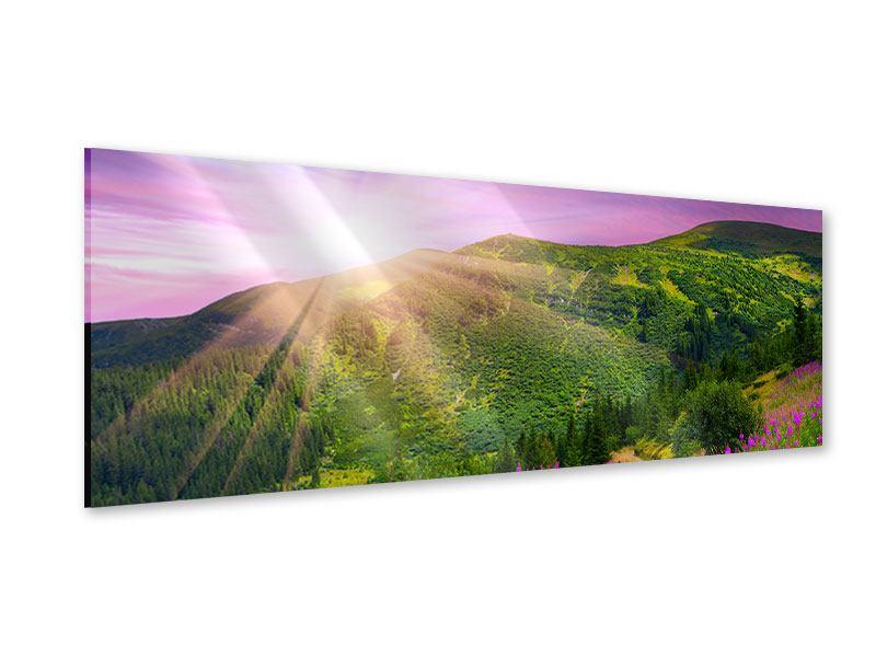 Acrylglasbild Panorama Eine Sommerlandschaft bei Sonnenaufgang