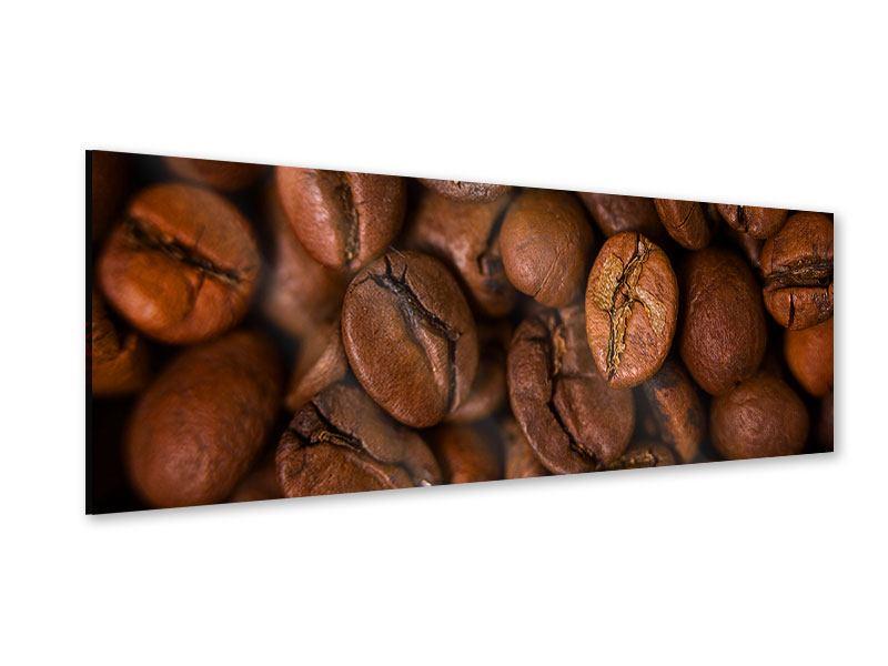 Acrylglasbild Panorama Close Up Kaffeebohnen