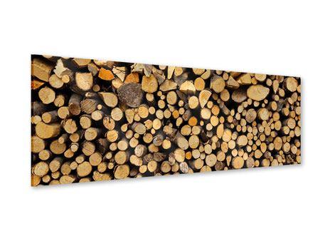 Acrylglasbild Panorama Brennholz