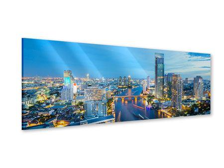 Acrylglasbild Panorama Skyline Bangkok in der Abenddämmerung