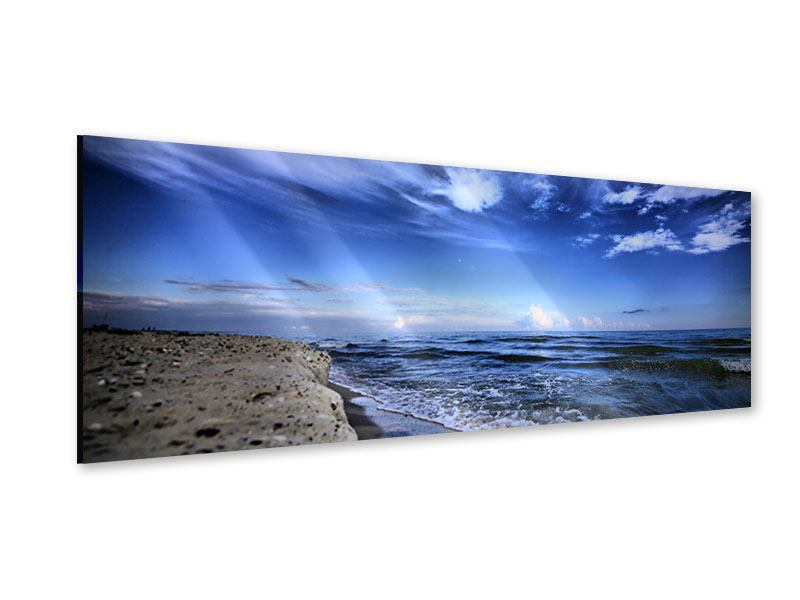 Acrylglasbild Panorama Strandwellen
