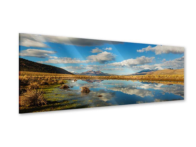Acrylglasbild Panorama Wasserspiegelung am See