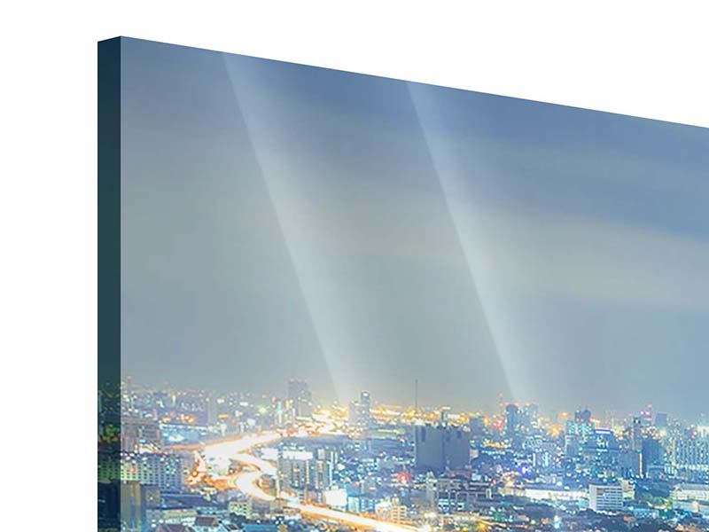 Acrylglasbild Panorama Skyline Bangkok im Fieber der Nacht