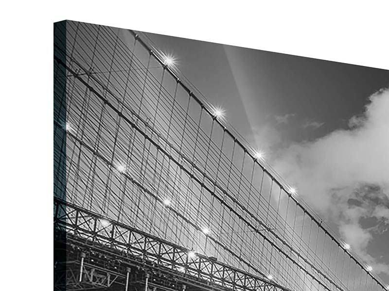Acrylglasbild Panorama Skyline Schwarzweissfotografie Brooklyn Bridge NY