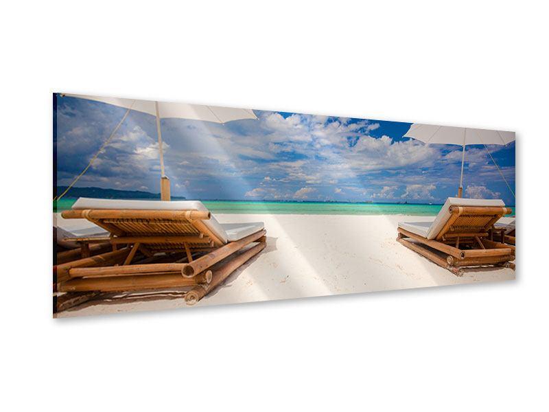 Acrylglasbild Panorama Liegen am Strand