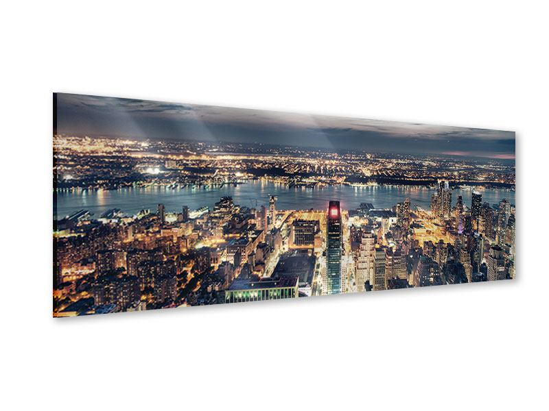 Acrylglasbild Panorama Skyline Manhattan Citylights