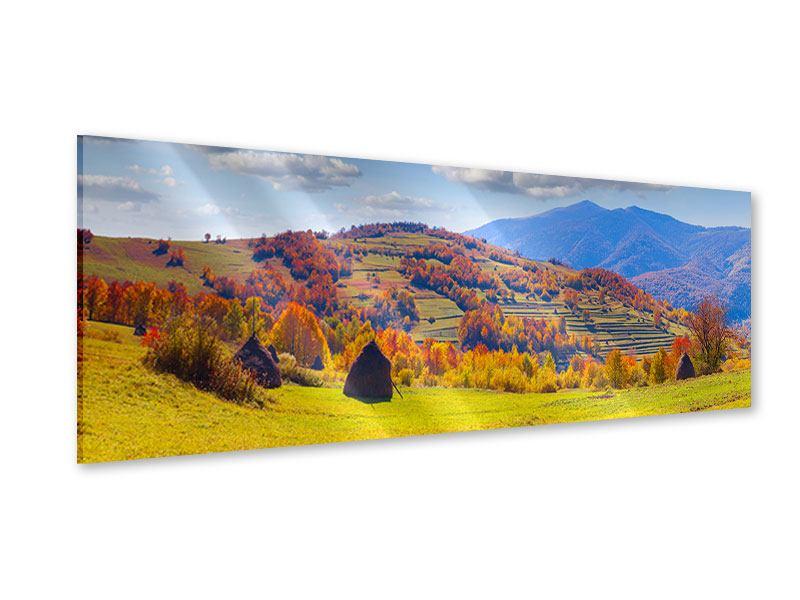 Acrylglasbild Panorama Herbstliche Berglandschaft