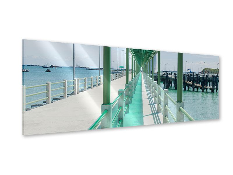 Acrylglasbild Panorama Die Brücke am Meer