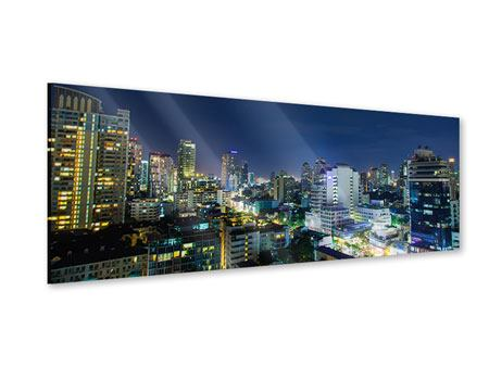 Acrylglasbild Panorama Skyline Nachts in Bangkok