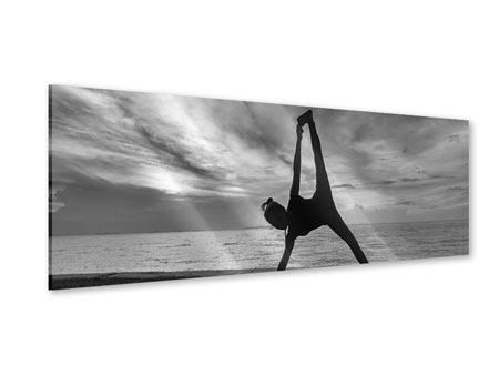 Acrylglasbild Panorama Yoga am Strand