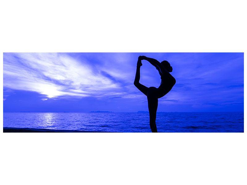 Acrylglasbild Panorama Yogaübung am Strand