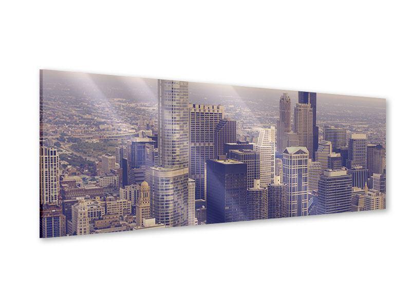 Acrylglasbild Panorama Skyline Chicago in Sepia