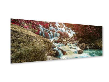 Acrylglasbild Panorama Exotischer Wasserfall