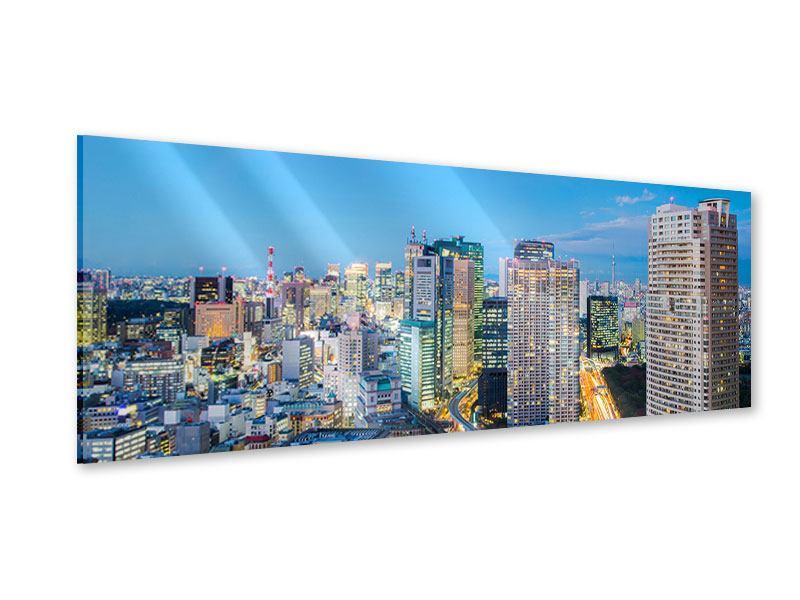Acrylglasbild Panorama Skyline Tokio im Lichtermeer