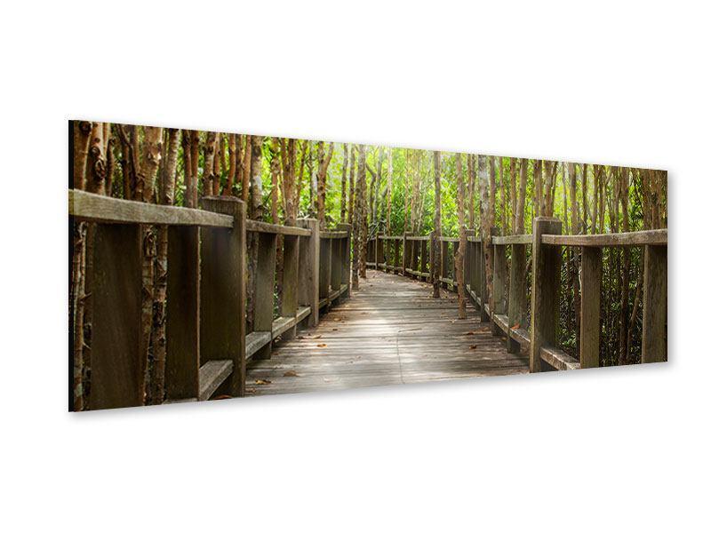 Acrylglasbild Panorama Hölzerne Brücke