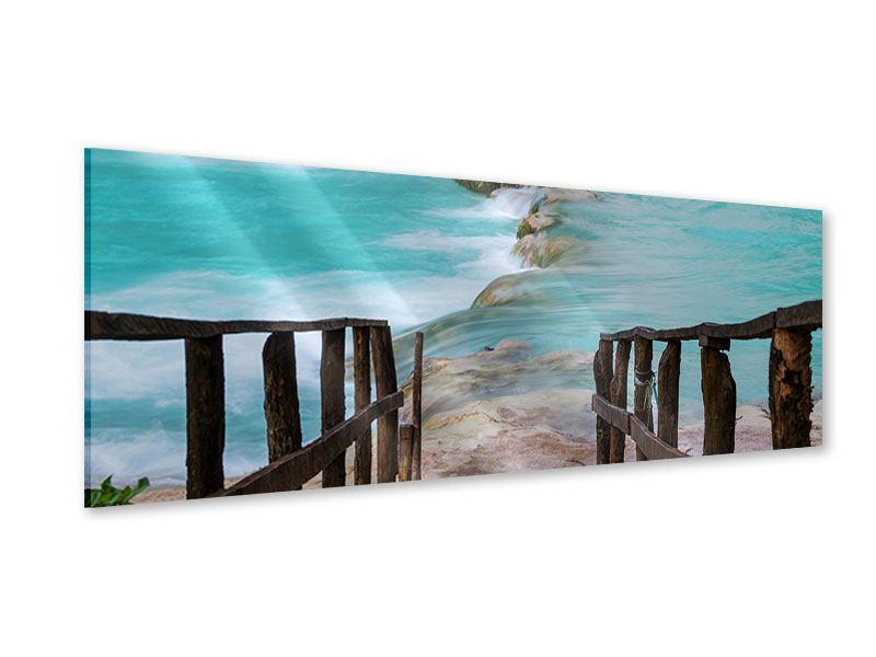 Acrylglasbild Panorama Haus am Wasserfall