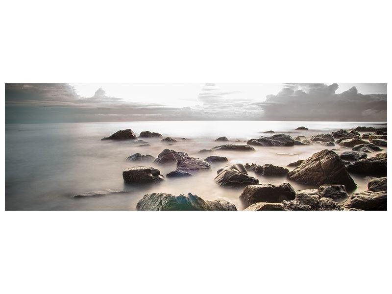 Acrylglasbild Panorama Steine am Strand