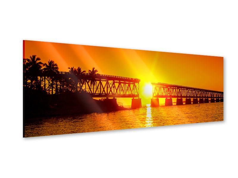 Acrylglasbild Panorama Sonnenuntergang an der Brücke