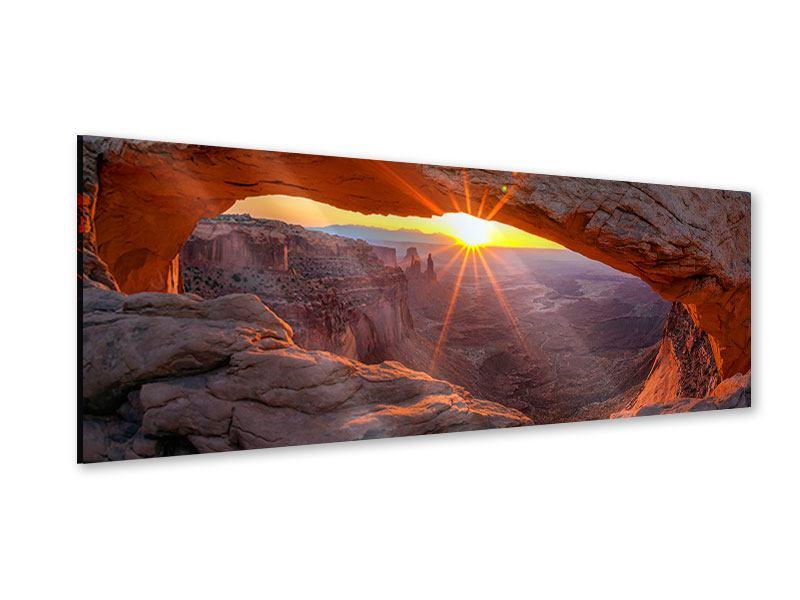 Acrylglasbild Panorama Sonnenuntergang am Mesa Arch