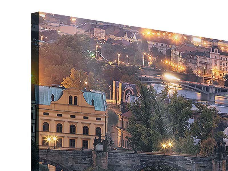 Acrylglasbild Panorama Brücken in Prag