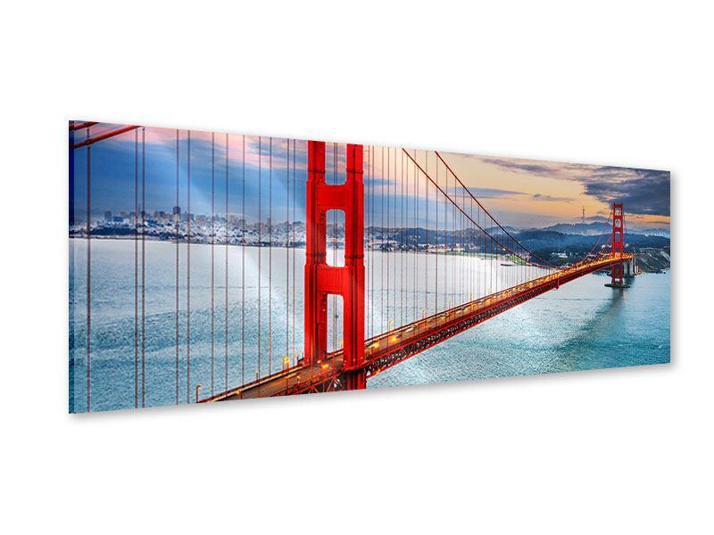 Acrylglasbild Panorama Der Golden Gate Bridge bei Sonnenuntergang