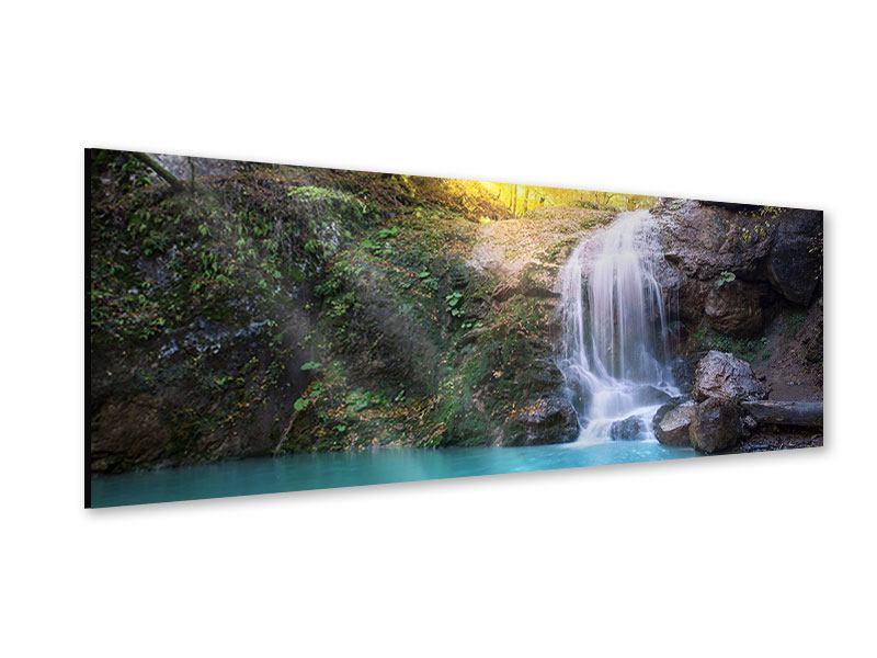Acrylglasbild Panorama Fliessender Wasserfall